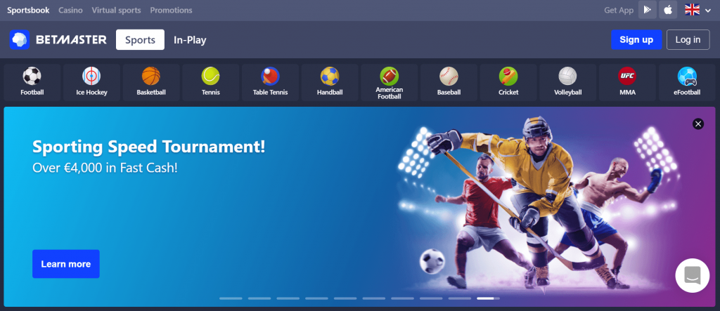 Home page of the official website Betmaster